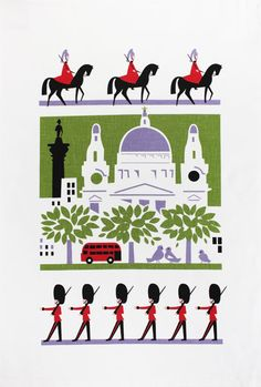 Scenic London tea towel - Designer tea towels from ToDryFor.com