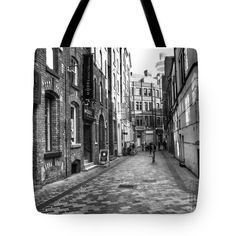 """A Stroll Around The Cavern Walks BW Tote Bag 18"""" x 18"""" by Joan-Violet Stretch"""