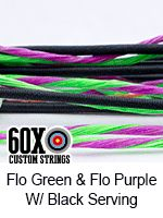 fluorescent green and fluorescent purple with black serving custom bow string