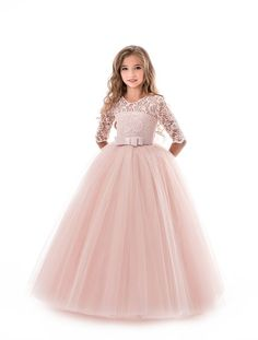 formal dresses Flower Girl Dresses Soft Pink Kids Formal Dress Lace Half Sleeve Bows Tulle A Line Girls Pageant Party Dress Girls Lace Dress, Girls Formal Dresses, Little Girl Dresses, Flower Girl Dresses, Dress Lace, Girls Pageant Dresses, Dress Formal, Wedding Dresses For Kids, Dress Casual