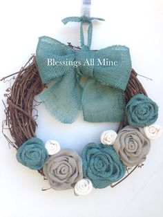 14 inch Grapevine Wreath, Burlap White, Gray, & Teal Turquoise Flowers, Teal Bow/Hanger Spring Summer Fall Autumn Winter Wedding Shower Gift by BlessingsAllMine Burlap Flower Wreaths, Grapevine Wreath, Wreath Burlap, Turquoise Flowers, Blue Flowers, Autumn Summer, Fall Winter, Burlap Lace, Hessian