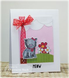 Meow Card by Charmaine Ikach #Cardmaking, #Critters, #TEMatched, #ShareJoy, #TE