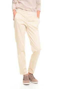 Pantaloni in raso di cotone, beige - Diffusione Tessile