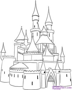 Easy castle drawing cartoon castle how to draw a medieval castle step 4 easy disney castle Disney Castle Drawing, Castle Sketch, Disney Drawings, Cartoon Drawings, Easy Drawings, Drawing Sketches, Castle Drawing Easy, Drawing Guide, Drawing Ideas