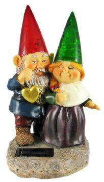 Sweetheart Garden Gnome Couple Solar Light Statue
