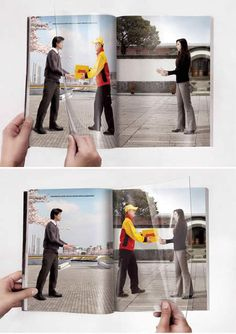 I chose this ad because of the way my eye moved. I may not have known what DHL was before this ad, but it made me look it up (it's express mail). We talked about having your eye follow the advertisement and I think this is a perfect example and very clever for print. This ad doesn't make you think. The bright colors also contrast the background so well it is very obvious to see what the point of attention is.
