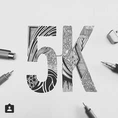 """Thank you for the continued support #5000 #followers. #5K. By @trentkokic. - Tag us and use """"#50words"""" for a regram. -  #thankyou #thanks # # #5 #details #inktober #typography #lettering #calligraphy #typeface #font #customtype #customlettering #handlettering #type #script #handmadefont #creative #design #sketch #inspiration by 50wordsongrey"""