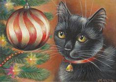 Black Cat Xmas Tree  Art Painting #Realism