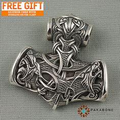 Thor's Hammer Size Large Mjollnir Mjolnir Mjölnir Raven Geri Freki Viking Scandinavian Jewelry Pendant Sterling Silver 925