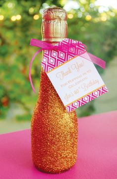 mini glitter champagne bottles for a birthday party or anniversary party Adult Birthday Party, 40th Birthday Parties, Birthday Favors, 25th Birthday, Backyard Birthday, Cake Birthday, Happy Birthday, 40th Party Ideas, 40th Bday Ideas