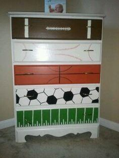 love this idea for a little boys room!  sports dresser… @ DIY House Remodel