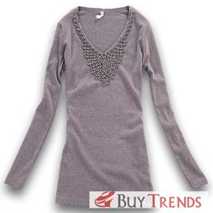 Fashion Women's V-Neck Long Sleeve T-Shirt - BuyTrends.com