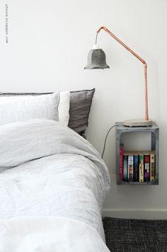 DIY concrete and copper lamp
