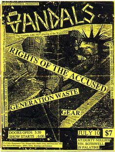 The Vandals punk hardcore flyer// LOVE THE COLOR// like the vintage feel of it Music Flyer, Concert Flyer, Concert Posters, Tour Posters, Band Posters, Punk Rock, Punk Poster, Stoner Rock, Punk Art