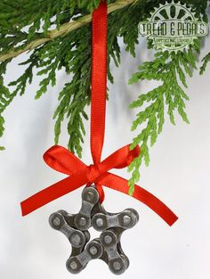 Christmas Star Ornament  Bicycle Chain by treadandpedals on Etsy, $10.00