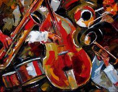 Abstract Jazz Art Music Painting Saxophone Trombone, Bass, Trumpet Paintings By Debra Hurd, painting by artist Debra Hurd
