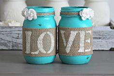 Chic Decor Jars-Mason Jar Decor,Jars with LOVE, Cottage Home Decor,Rustic…