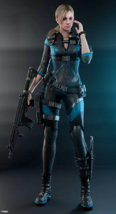 Resident Evil Jill Valentine - Cathie Mullis Pages Resident Evil 5, Valentine Resident Evil, Chica Fantasy, Fantasy Girl, Cyberpunk Character, Jill Valentine, Warrior Girl, Shadowrun, My Favorite Image