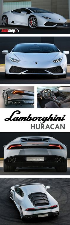"""2015 Lamborghini Huracán LP 610-4: Lamborghini's new """"entry-level"""" supercar, the Huracán, picks up where the exotic Gallardo left off. Its angular design manages to be both severe and elegant, and its stealth fighter–like cockpit is as luxurious as it is intense. Power comes from a 602bhp V10 with a seven-speed dual-clutch automated gearbox and all-wheel drive, helping it accelerate from 0–60 mph in just under 3s, and a top speed of 202 mph...x"""