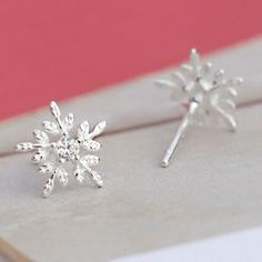 a913e3374b Shining Christmas Style Snowflake Embossed Crystal Mini Silver Girl s Cute  Earring Studs just  17.99