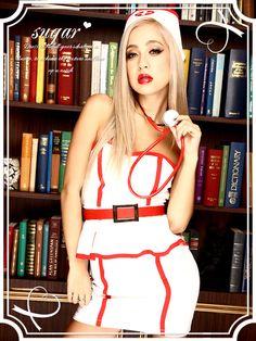 【ハロウィン】胸盛りバッチリな白衣の天使♪ベアミニタイプのセクシーナースワンピ★コスプレセット[839-sy]