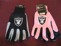 TWO (2) PAIRS OF OAKLAND RAIDERS, SPORT UTILITY GLOVES(ONE REG & ONE PINK) #OaklandRaiders