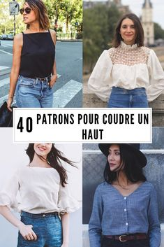 40 patrons pour coudre un haut / Sewing patterns shirt 40 patterns to sew a top / sewing patterns shirt Sewing Clothes Women, Diy Clothes, Clothes For Women, Woman Clothing, Sewing Blouses, Sewing Shirts, Shirt Patterns For Women, Clothing Patterns, Women's Sewing Patterns