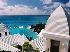 Bermuda rooftops - An artistic way of using local limestone for shelter and collecting rainwater for the family's needs!