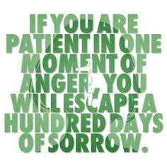 If you are patient in one moment of anger, you will escape a hundred days of sorrow. ~ author unknown