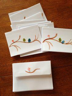 Homemade notecards: fingerprints make the little birds on the branches
