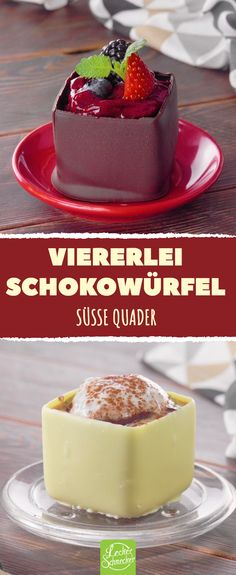 Viererlei Schokowürfel - süße Quader #rezepte #schokolade #eiswürfel #früchte #süß #lecker #kaffee
