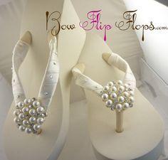 Ivory Wedge Bridal Flip Flops White Heel by BridalFlipFlops, $48.00