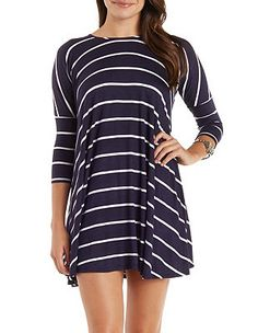 Striped Dropped Shoulder Trapeze T-Shirt Dress: Charlotte Russe