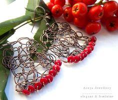 Miedziane kolczyki z koralem w ACOYA JEWELLERY na DaWanda.com