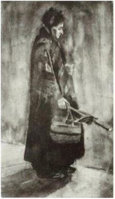 Vincent van Gogh Woman with Shawl, Umbrella and Basket Watercolor