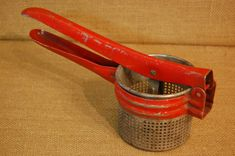 Vintage Red Metal Potato Ricer circa 1940's by PickersWarehouse