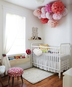 I love the flowers/poufs on the ceiling!!! This is awesome!!!