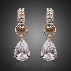 18K Real Gold Plated Rare Zirconia & Swarovski Studded Earrings