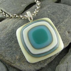 Ivory, Turquoise and Teal Fused Glass Pendant