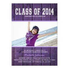 Beautiful Purple Class of 2014 Graduation Personalized Announcement