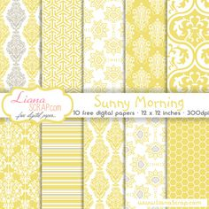 Free digital paper in sunny and bright yellow color with touches of white and grey. The patterns are chosen to mix and match: damask pattern, honeycomb geometric pattern and stripes.