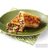 Beef, baked bean and cheese crispy burritos