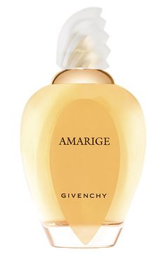 Amarige  Amarige expresses the emotion of love at first sight. A romantic scent of grace, warmth, and fantasy for a spirited, confident, spontaneous woman. The Amarige bottle was inspired by a blouse once created by Hubert de Givenchy for his muse and style model, Bettina Graziella. A wide collar of gold - part-frosted, part-clear, part-opaline, part-flame - unveils the enchantment of the fragrance.    Notes:  Neroli, Rosewood, Violet Leaves, Citrus Notes, Gardenia, Mimosa, Melon, Peach…