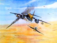 F/L Saif ul Azam of PAF in a Hunter of Iraqi Airforce, firing at an attacking Israeli Vautour.