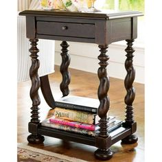 perfect size: 14x18x25H Paula Deen Sweet Tea Side Table (color Tobacco)