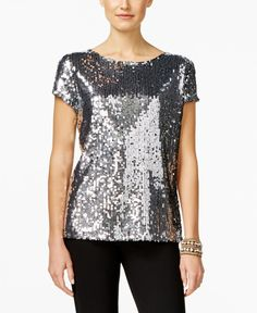 Unleash your inner fashionista in this dazzling sequined top from Inc International Concepts. | Shell:polyester;lining:nylon | Machine washable | Imported | Crew neckline | Pullover styling | Allover