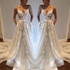 Applique Sexy Online V Neck Ivory Fashion Long Prom Dress, BG51501