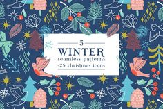 Winter patterns and icons by Maria Galybina on @creativemarket