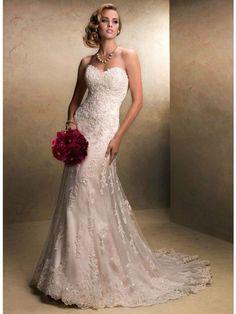A-Linie/Princess-Linie Herzausschnitt Sweep/Pinsel zug Tüll Spitze Brautkleid