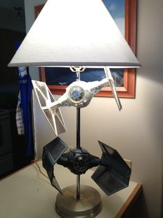 Star Wars Tie Wing Fighter Lamp.  Made by David.  www.mauicraft.com